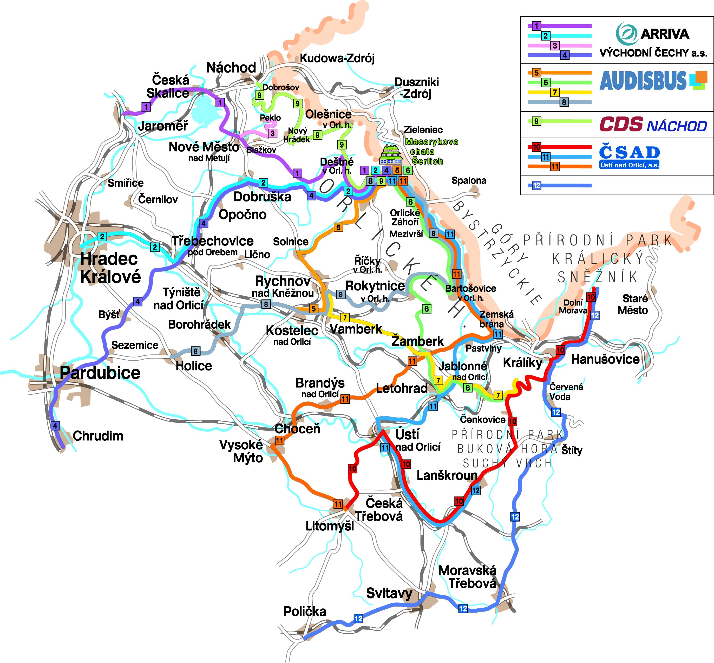 Mapa cyklobusy 2020
